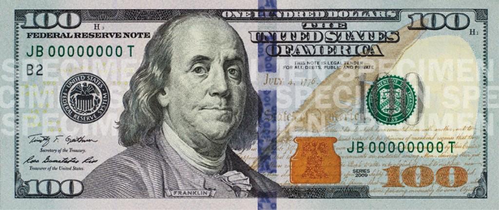 Nuevo Billete 100 dólares anverso