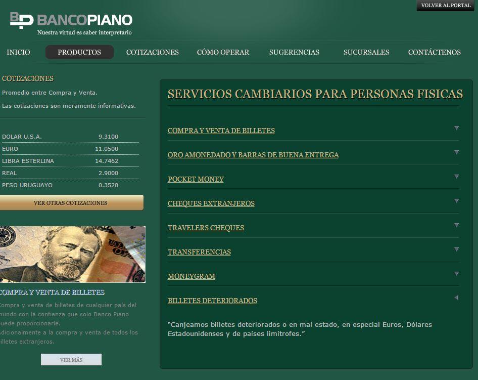 Cambio de dólares manchados, rotos o deteriorados en Banco Piano