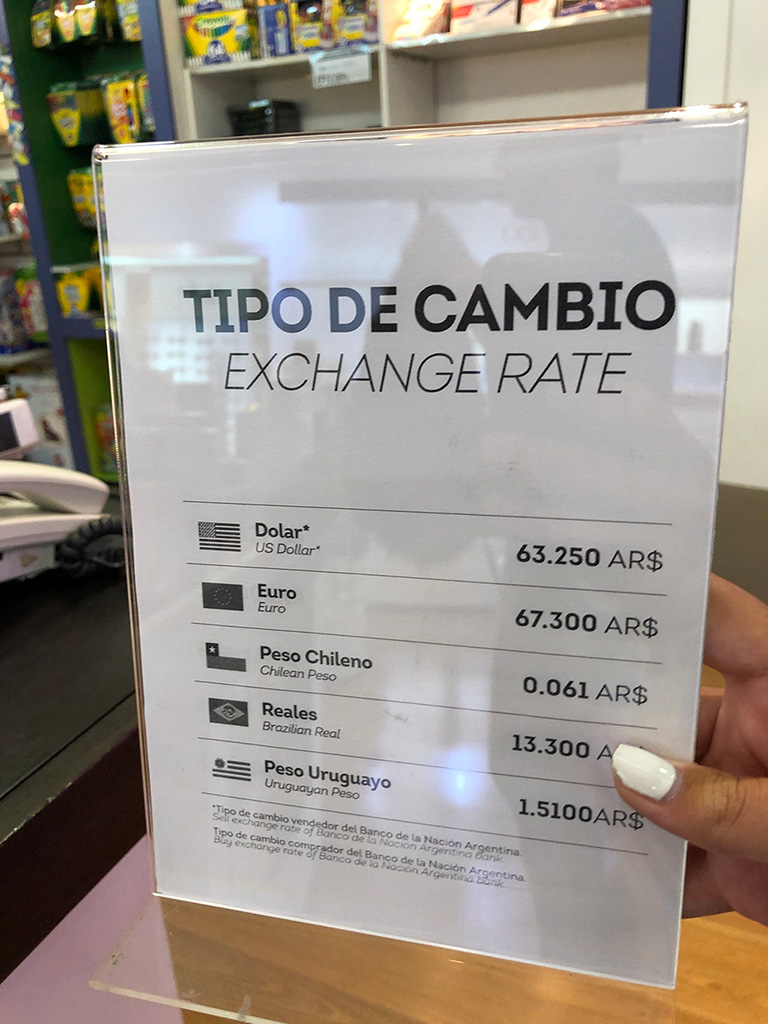 Tipo de cambio duty free shop Ezeiza