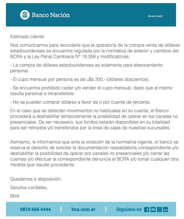 Banco Nación email aviso compra venta dólares