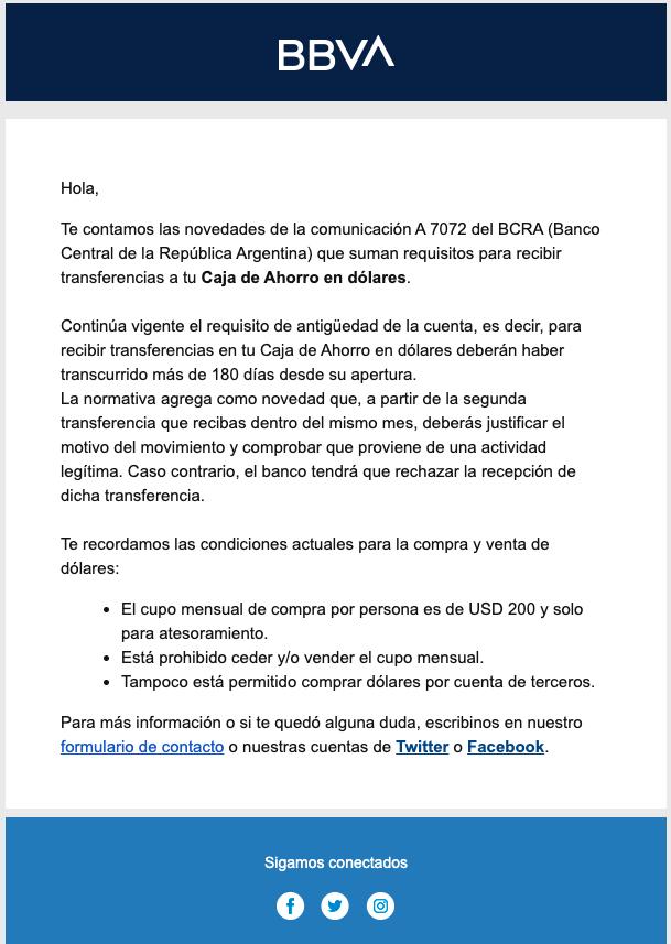 """Correo electrónico de BBVA por Com. """"A"""" 7072"""