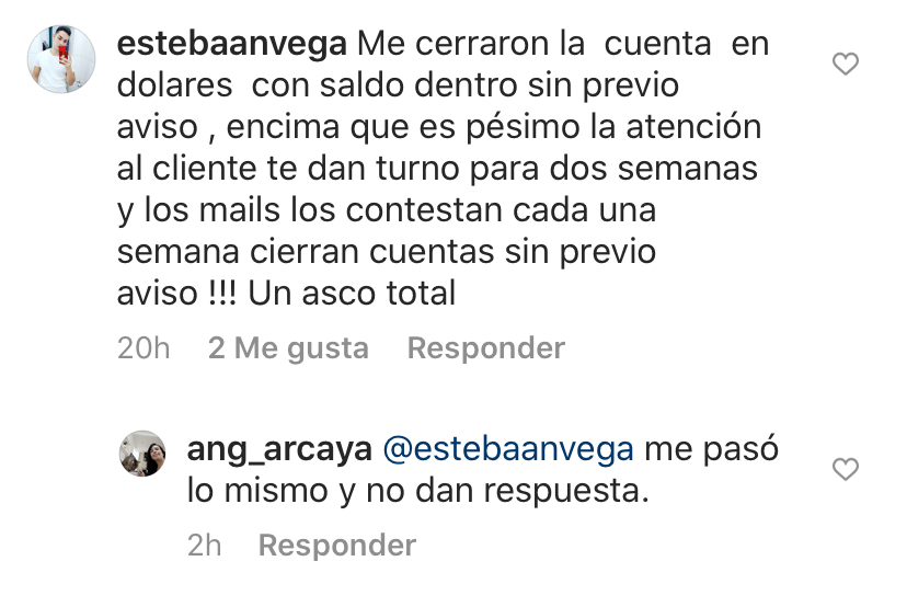 Instagram BBVA bloqueo cuenta en dólares