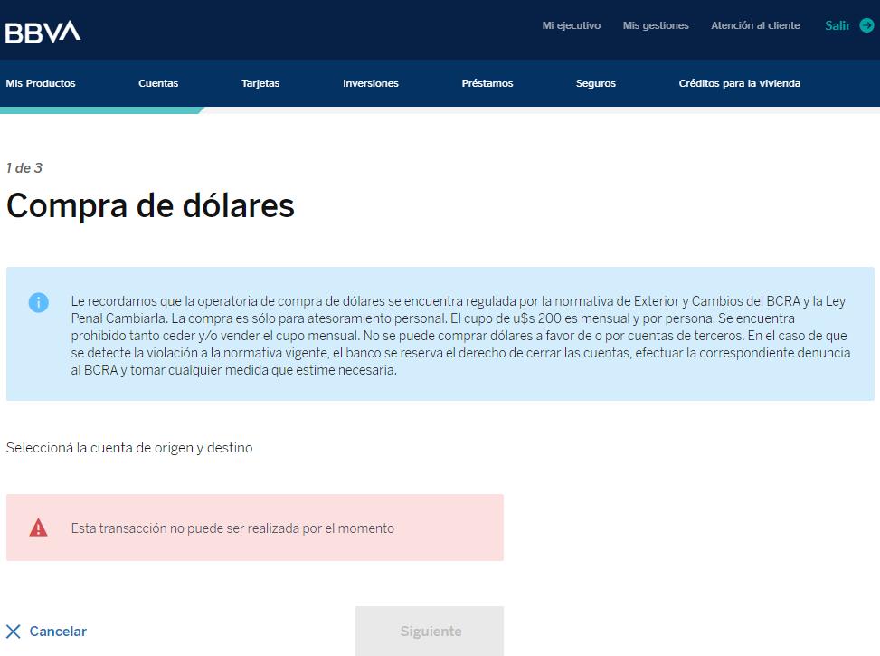 """En BBVA no funciona opción """"Comprar dólares"""""""