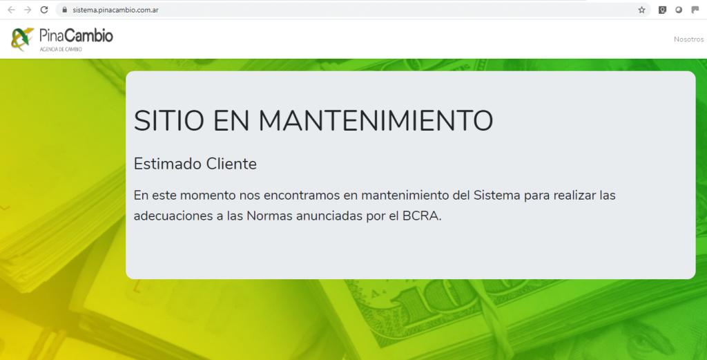 PinaCambio no vende dólares sitio en mantenimiento