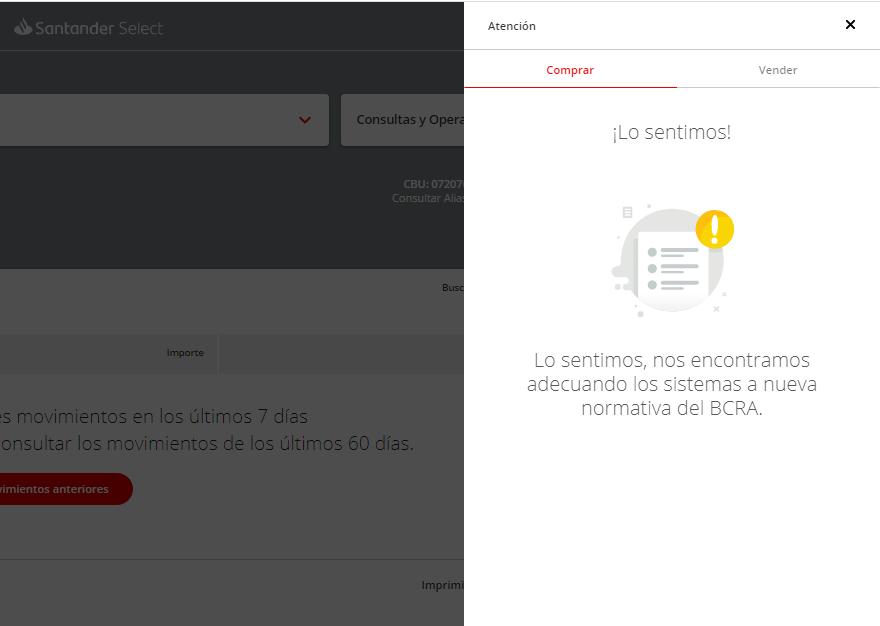 Santander no vende dolares por adecuación sistemas