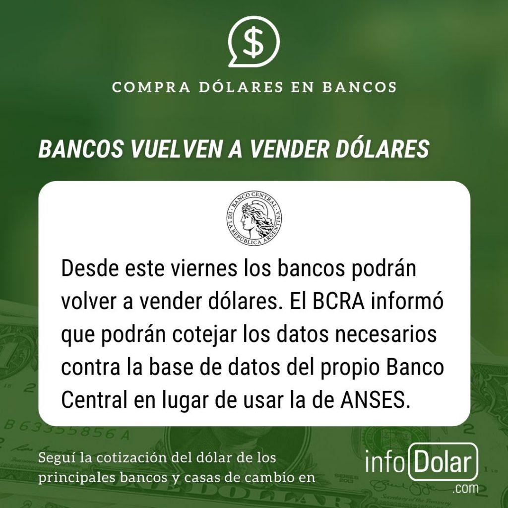 Bancos vuelven a vender dólares