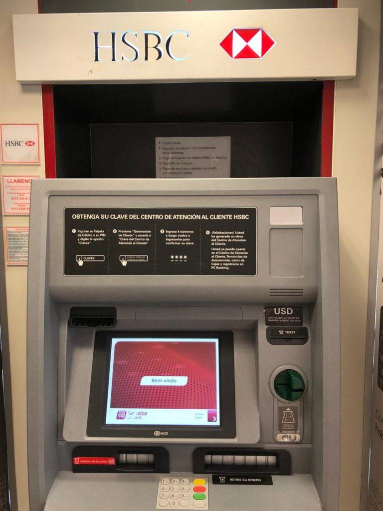 Cajero automático HSBC retirar dólares billete