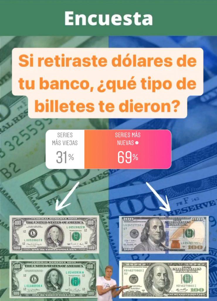 Si retiraste dólares de tu banco, ¿qué tipo de billetes te dieron?