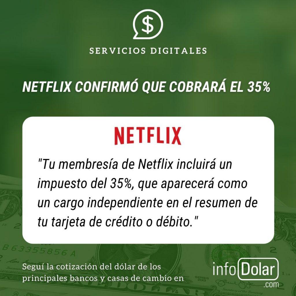 Netflix confirmó cobro de retención de 35 %