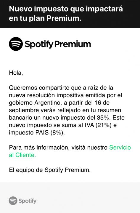Email de Spotify donde anuncia que cobrará la retención del 35%