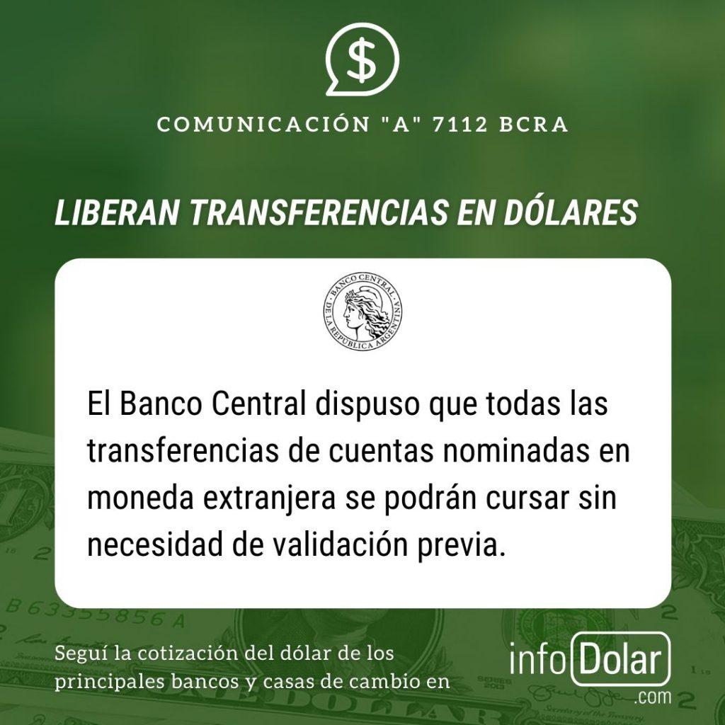 Transferencias en dólares comunicación A 7112
