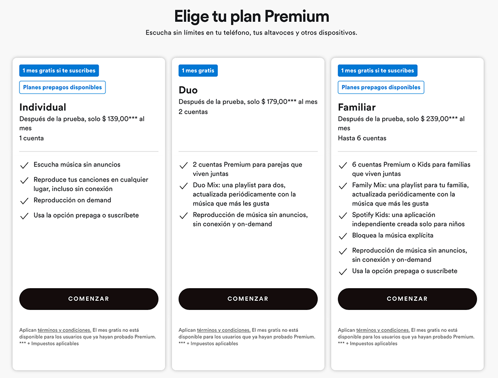 precios Spotify premium Argentina enero 2021