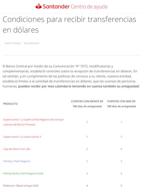 Trasnferencias dólares Santander