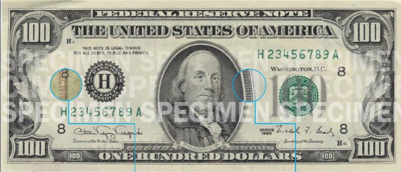 Billete 100 dólares cara chica con hilo de seguridad 1990 - 1996