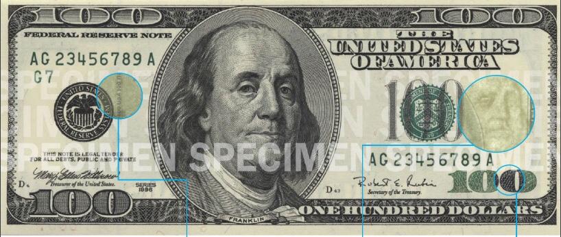 Billete 100 dólares cara grande 1996 - 2013
