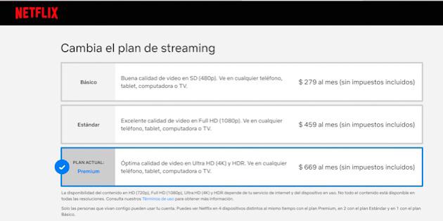 Precios de planes de streaming de Netflix